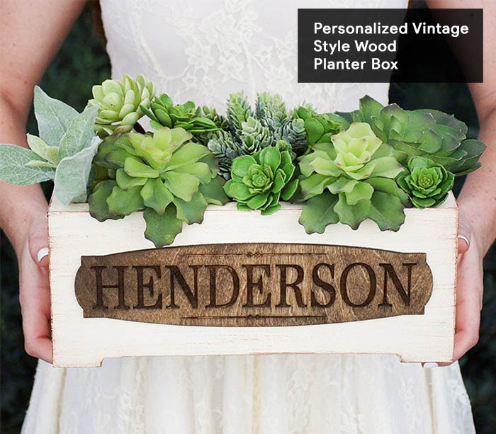 4.Personalized Vintage Style Wood Planter Box